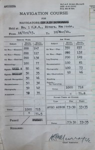 photo of Roy's wartime RAF logbook