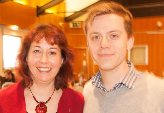 image of Momentum supporters Nancy Platts and Owen Jones