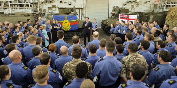image of PM Cameron addresses service personnel on HMS Bulwark in Malta