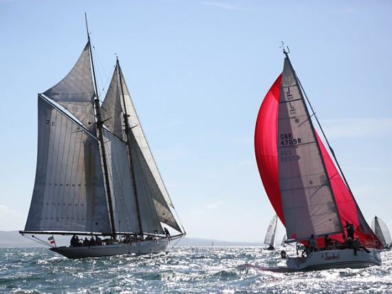 Traditional and modern rigged yachts on the reach down to St Catherine's Point, the southernmost tip of the Isle of Wight.