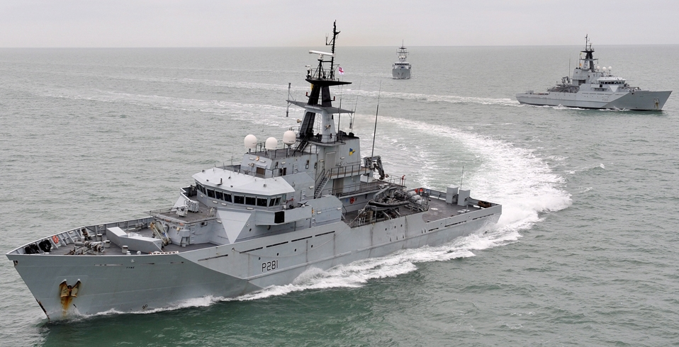 The three River-class patrol vessels of the Fishery Protection Squadron, HMS Mersey, HMS Severn and HMS Tyne (foreground) exercising off the coast of Cornwall. The Fishery Protection Squadron (FPS) enforces UK and EU fisheries legislation in order to ensure the long term sustainability of the UK fishing grounds. In addition, the three UK based Ships are the only warships on permanent patrol around the UK, contributing to the policing of UK waters and delivering an intrinsic element of the UK's Maritime Security.