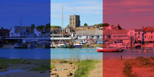 image of Sussex Yacht Club with French flag overlaid