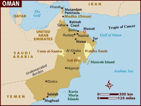 image of Map of Oman in the Gulf